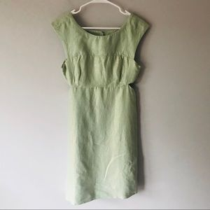 Anthropologie Maeve Mentha cut out Dress gold mint